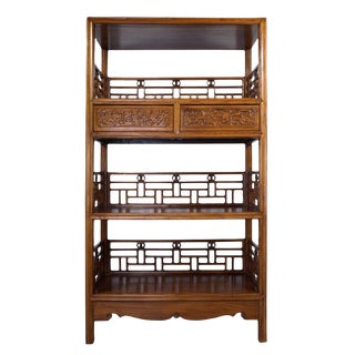 Vintage Chinese Hand Carved Book Shelf For Sale