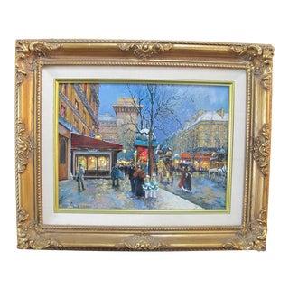Signed Sandi Lebron Oil Painting of Porte St. Deni Paris, Framed For Sale