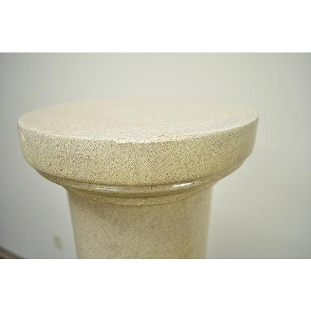 """Tan Vintage Pair of 60"""" Faux Concrete Fiberglass Columns Pedestal Sculpture Plant Stands For Sale - Image 8 of 11"""