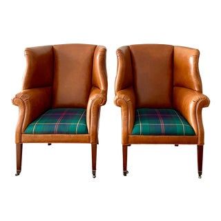 Ralph Lauren Custom Leather & Wexford Plaid Hepplewhite Wing Chairs - a Pair For Sale