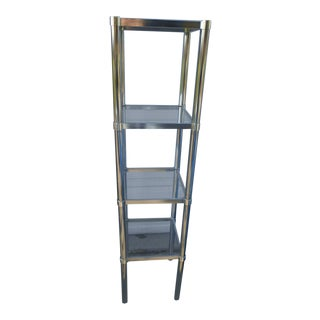 Mid-Century Chrome & Glass Etagere Shelving Unit