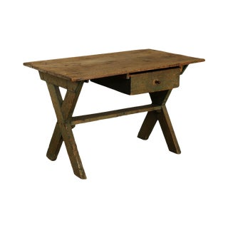 Antique Pine Sawback Table or Desk With Drawer For Sale
