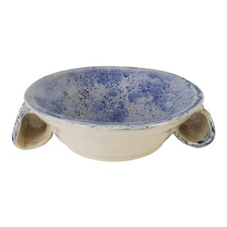 1980's Vintage Blue Glazed Ceramic Texture Decorative Bowl For Sale