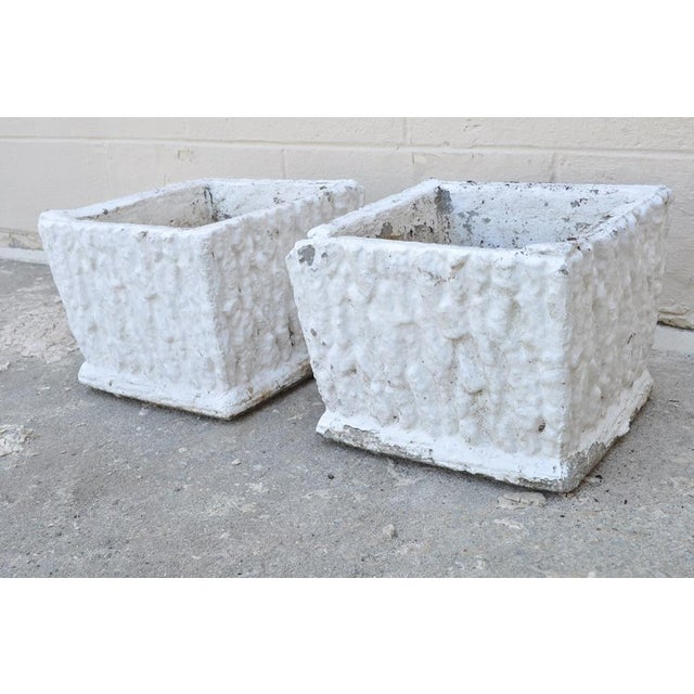 Item: Pair of Vintage Concrete Square White Painted Garden Planters. Details: 9 x 11, Items have a very nice weathered...