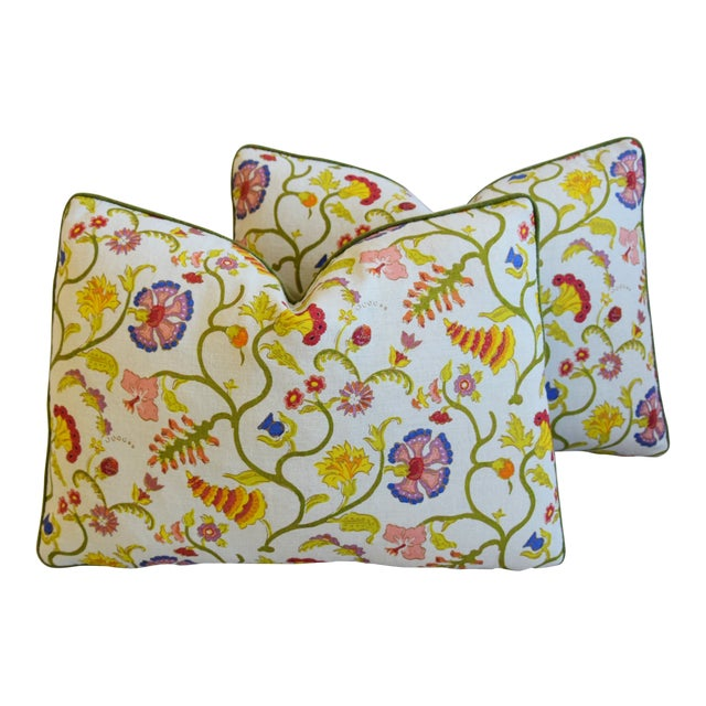 """Designer Floral Raoul & Scalamadre Mohair Pillows 23"""" X 16"""" - Pair For Sale"""