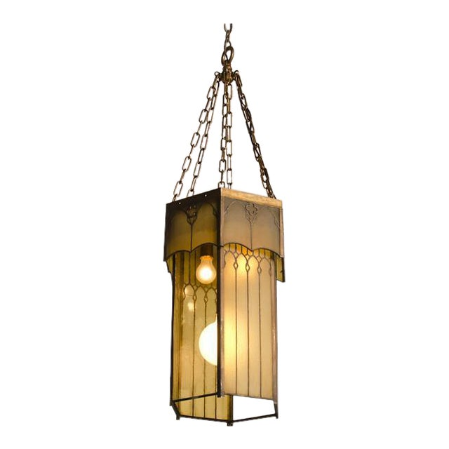 Edwardian English Arts and Crafts Period Tall & Slender Hexagonal Metal Frame & Glass Lantern For Sale