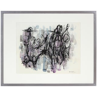 Mid-Century Modern Abstract Painting in Pastel Purple and Blue Watercolor With Black Ink For Sale