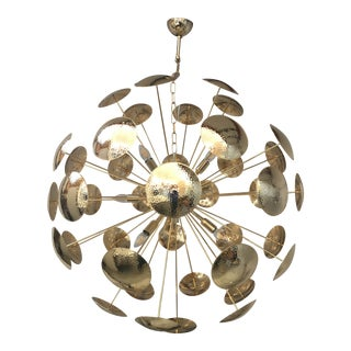 Huge and Rare Century Gold Metal Frame Sputnik Chandelier For Sale