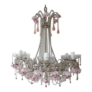 French Beaded Pink Opaline Porcelain Roses Chandelier, circa 1920 For Sale