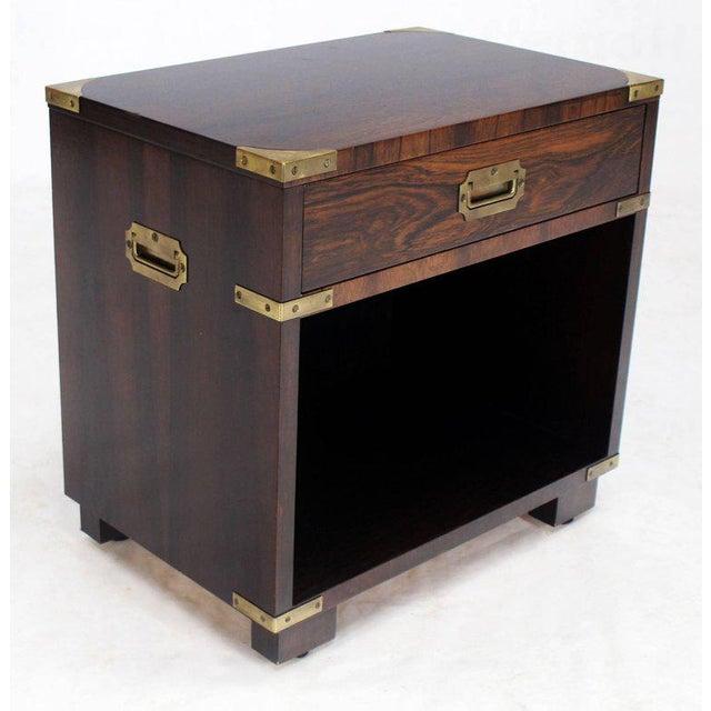 Mid-Century Modern John Stuart Campaign one drawer end side table by John Stuart. Striking rosewood grain pattern medium...