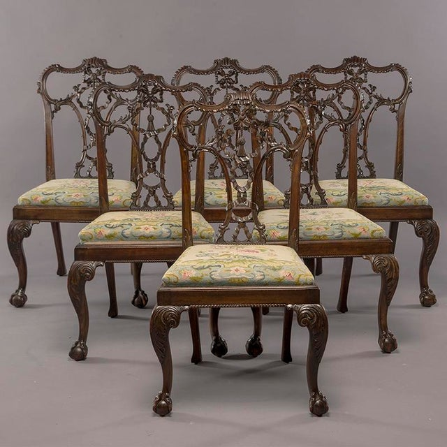 Set 8 19th C Hand Carved Chippendale Tassel Back Dining Chairs For Sale - Image 13 of 13