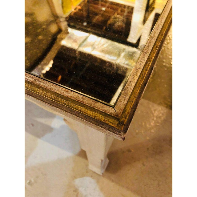 Distressed Mirror Glass Top Squared Asian Style End Tables Stamped Jansen, Pair For Sale - Image 12 of 13
