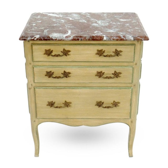 """A Louis XV style """"All-Drawer"""" model marble top night table with 3 operative drawers and 6 false drawer fronts. Any..."""