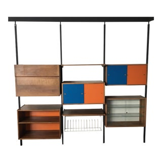 1950's-1960's Wall Unit Modular Storage With Tension Rods