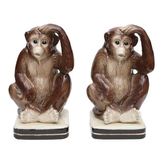 1970s Vintage Japanese Monkey Bookends - a Pair For Sale