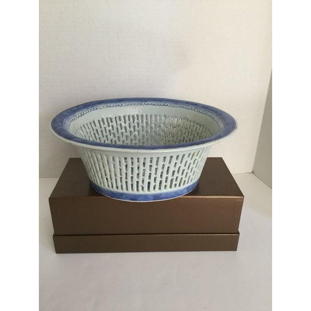 Chinese Canton Blue & White Basket - Image 2 of 7
