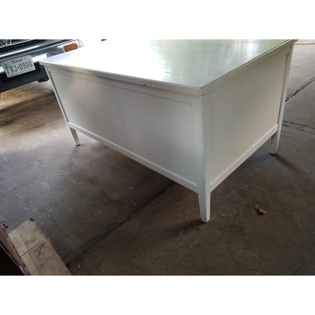 Wood Mid Century Modern Style Executive Desk For Sale - Image 7 of 13