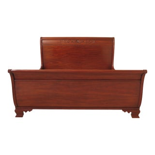 Traditional Henkel Harris King Size Cherry Sleigh Bedframe For Sale