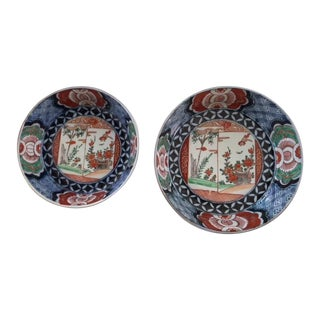 Antique 1835 Japanese Imari Porcelain Colored Bowls - a Pair For Sale