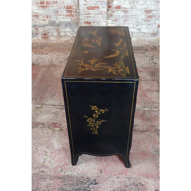 Antique English Chinoiserie Black Lacquered Five-Drawer Chest For Sale - Image 9 of 11