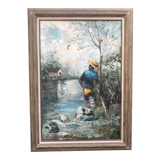 1960s Impressionist Country Landscape Painting For Sale