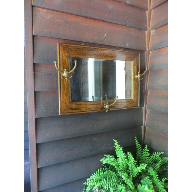Antique Hanging Wall Mirror Tiger Oak With Hooks For Sale - Image 10 of 10