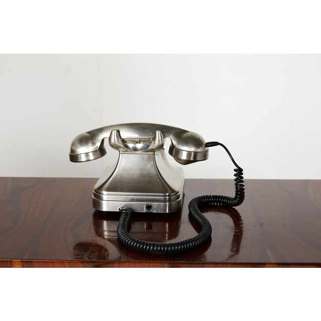 Retro Brushed Nickel Push Button Telephone For Sale In Atlanta - Image 6 of 9