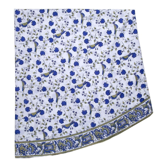 Birds On Vine Round Tablecloth - Blue For Sale