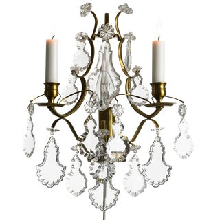 Rococo style wall Chandelier in amber coloured brass with pendeloque shaped crystals (width 32cm/13 inches)