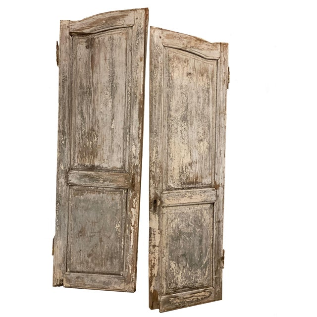 Wood 19th Century French Antique Chippy Paint Doors With Hardware - a Pair For Sale - Image 7 of 7
