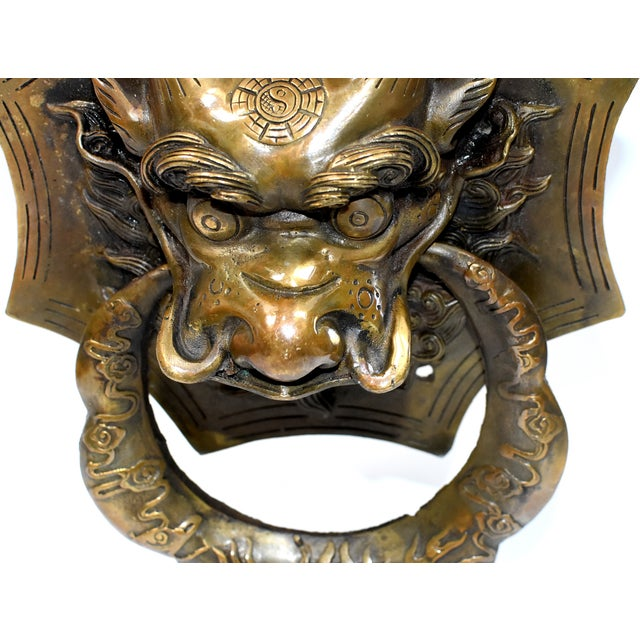 Late 20th Century Small Asian Dragon Door Knockers- a Pair For Sale - Image 12 of 13