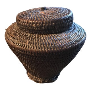 Antique Bhutan Basket With Lid For Sale