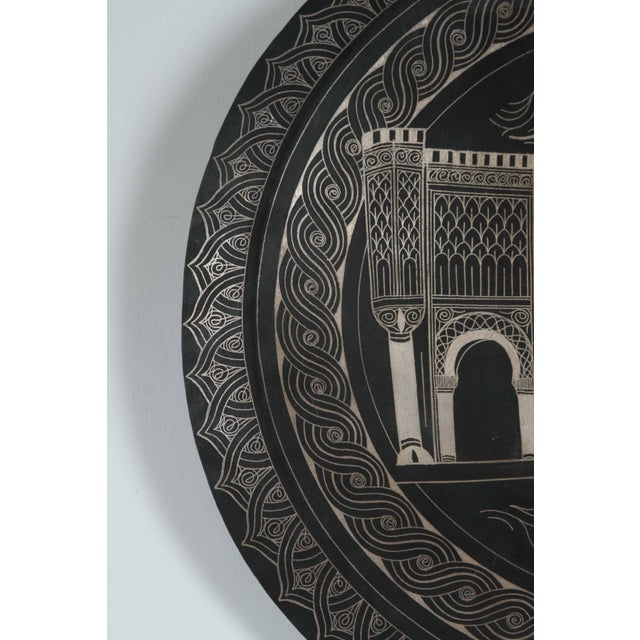 Moroccan Hanging Black Metal Tray From Meknes For Sale - Image 4 of 9