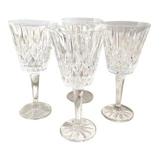 """Set of 4 Cut Crystal Glasses Godinger Water Goblets """"Caitlin"""" For Sale"""