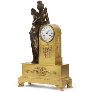 French Napoleon III Gilt & Patinated Bronze Mantel Clock For Sale