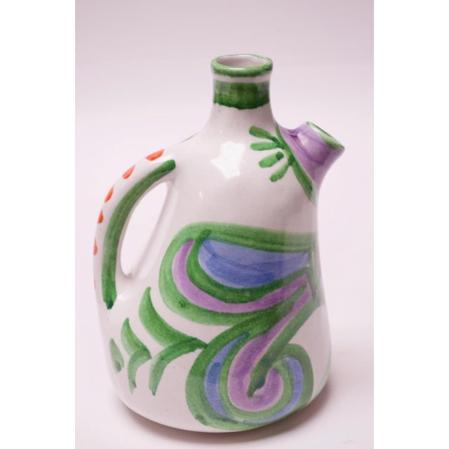 "Folk Art Hand Painted Italian Ceramic ""Bird"" Pitcher / Wine Decanter by Desimone For Sale - Image 3 of 13"
