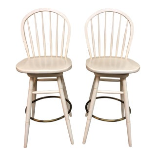 New Country Ethan Allen Cream Wood Bar Height Windsor Stools - a Pair For Sale