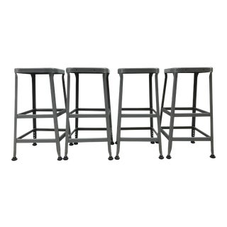 Vintage Lyon Industrial Metal Stools - Set of 4