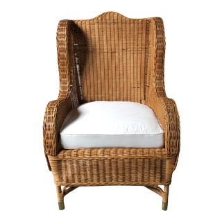 1970s Vintage Wicker Wingback Club Chair For Sale