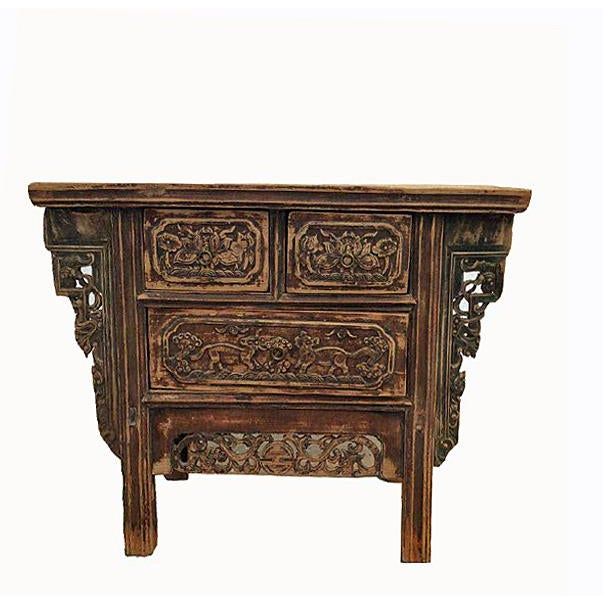 Elm Carved Three Drawers Chinese Antique Cabinet For Sale - Image 7 of 7 - Carved Three Drawers Chinese Antique Cabinet Chairish