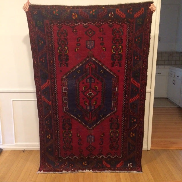 Vintage Blue and Red Persian Rug - 3′12″ × 6′2″ - Image 2 of 5