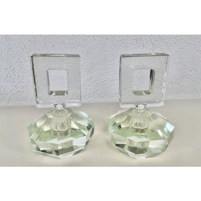 Hand Cut Crystal Perfume Bottles – a Pair For Sale - Image 9 of 9