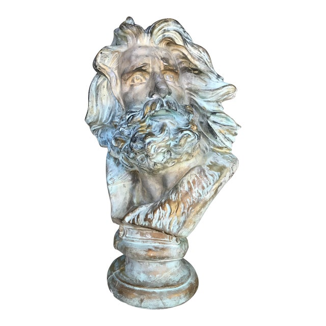 Late 20th Century Neo-Classical Neptune/Poseidon Plaster Bust For Sale
