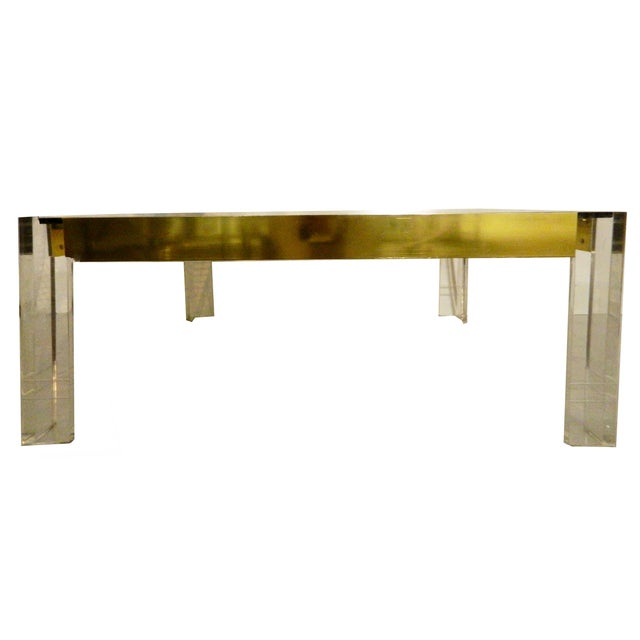 1970s Lucite & Brass Cocktail Table - Image 3 of 6
