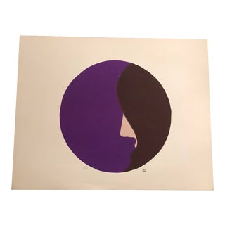 Purple, Peach & Brown Minimalist Woman's Profile Hand-Painted Serigraph 3/23 by Geoffrey Graham For Sale
