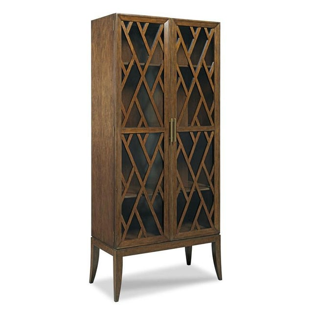Transitional Modern Reed Brown Cabinet For Sale - Image 3 of 3
