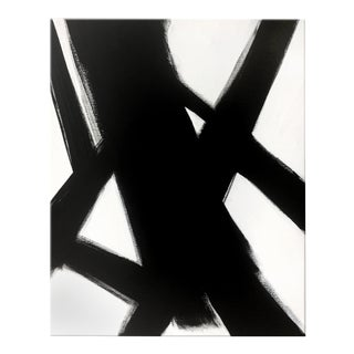 """Abstract Black and White Slash No. 4 Painting - 36x48"""" For Sale"""