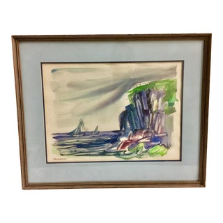 Vintage Sailboats Seaside Watercolor Painting For Sale