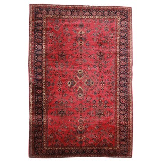 RugsinDallas Antique Hand Knotted Wool Persian Yazd Rug - 11′4″ × 16′6″ For Sale