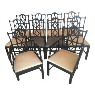 Chinese Chippendale Fretwork Dining Chairs - Set of 10